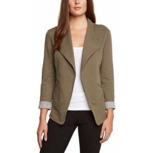 Matty M Olive Casual Roll-Sleeve Knit Blazer